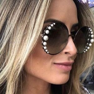 Accessories - Round Pearl Embellished Sunglasses